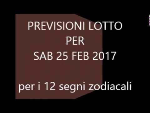 Previsioni per il Lotto ★ Estrazione Sabato 25 Febbraio 2017