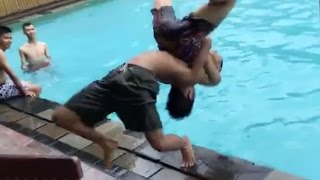 German Suplex Into Pool Total Fail but doesn't die.