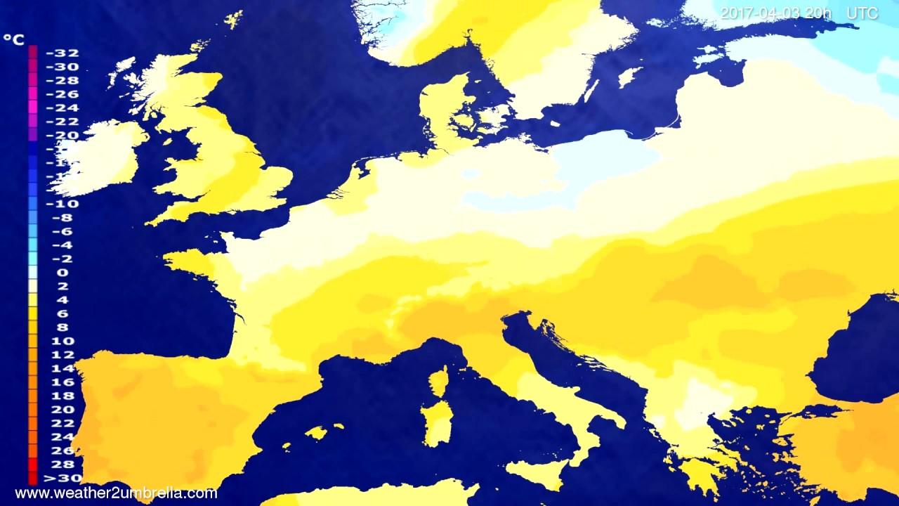 Temperature forecast Europe 2017-04-01