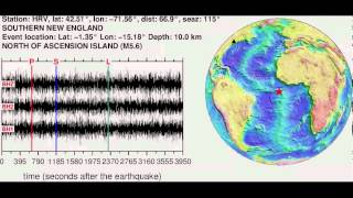 Sonifications of the NORTH OF ASCENSION ISLAND (M5.60) earthquake (2013/12/28 18:59:05 GMT). Find more at ...