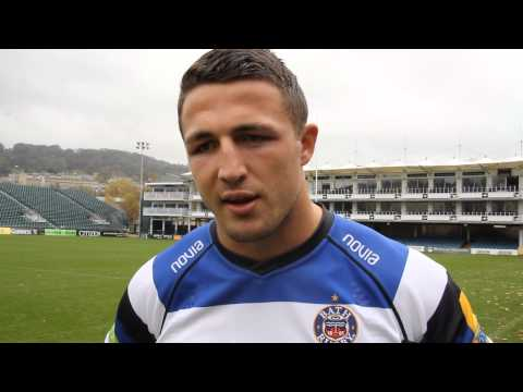 Sam Burgess arrives at Bath