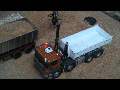 leimbach - 1 essai grue et ampirol camion RC scania P620 echelle1/14 eme www.camions-rc.fr.