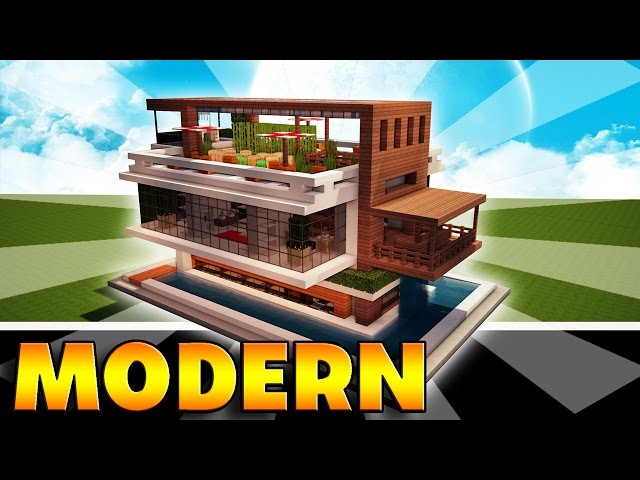 Minecraft how to make a modern mansion easy house tutorial for Modern house music