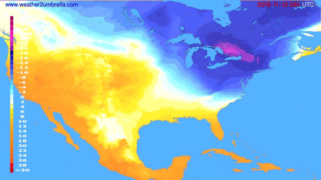 Temperature forecast USA & Canada // modelrun: 00h UTC 2019-11-12