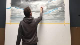 Time Lapse van landschapsschildering
