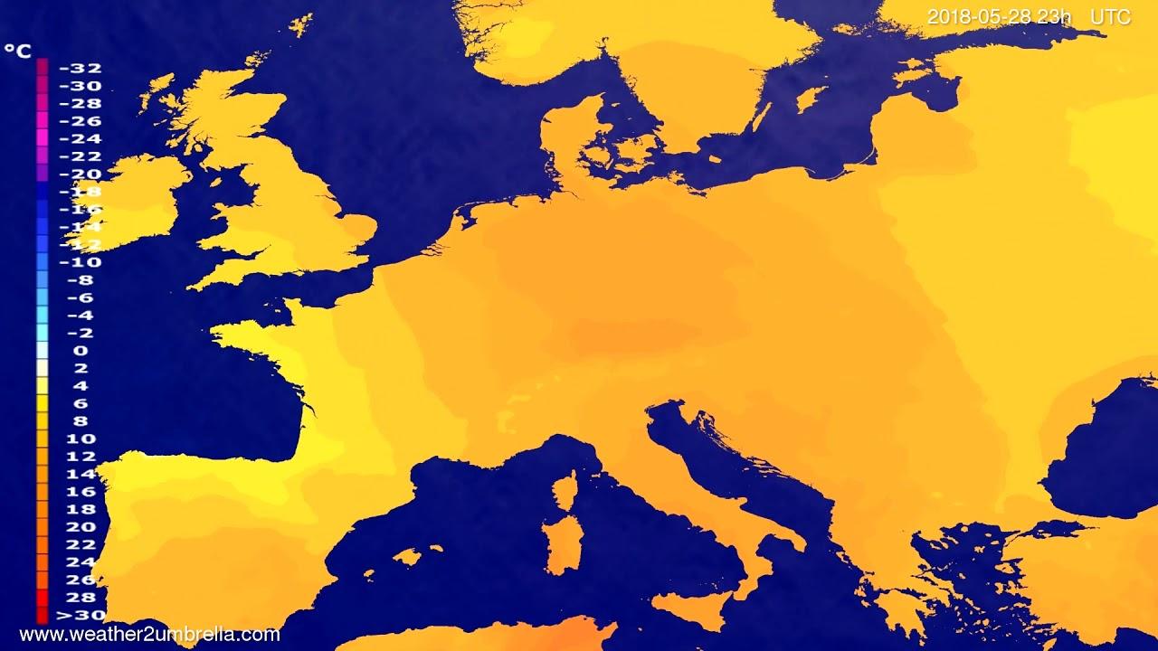 Temperature forecast Europe 2018-05-25