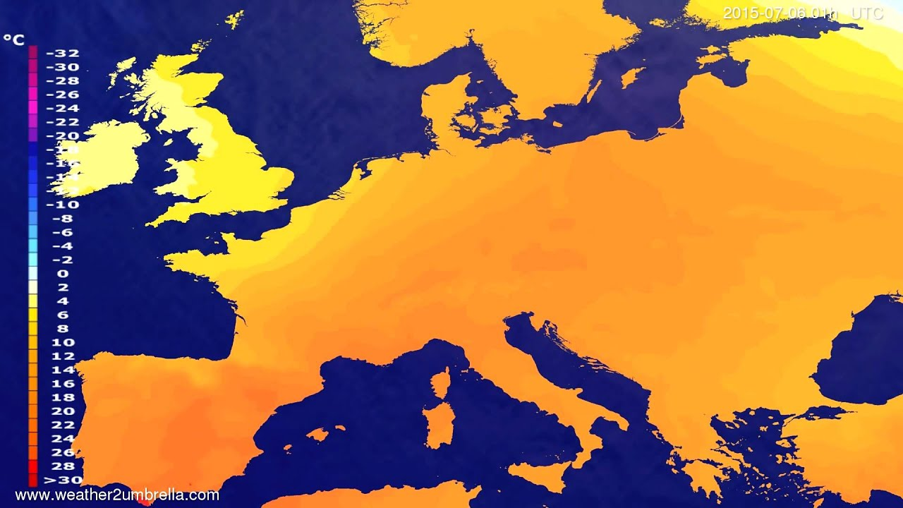 Temperature forecast Europe 2015-07-03