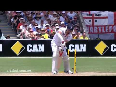 Way - Re-live Mitchell Johnson's famous dismissal of James Anderson in the second Commonwealth Bank Ashes Test at the Adelaide Oval.