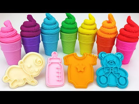 6 Colors Play Doh Ice Cream with Baby Theme Cookie Molds Surprise Toys Zuru 5