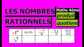 Maths 4ème - Les nombres rationnels Produit et Quotient Exercice 17