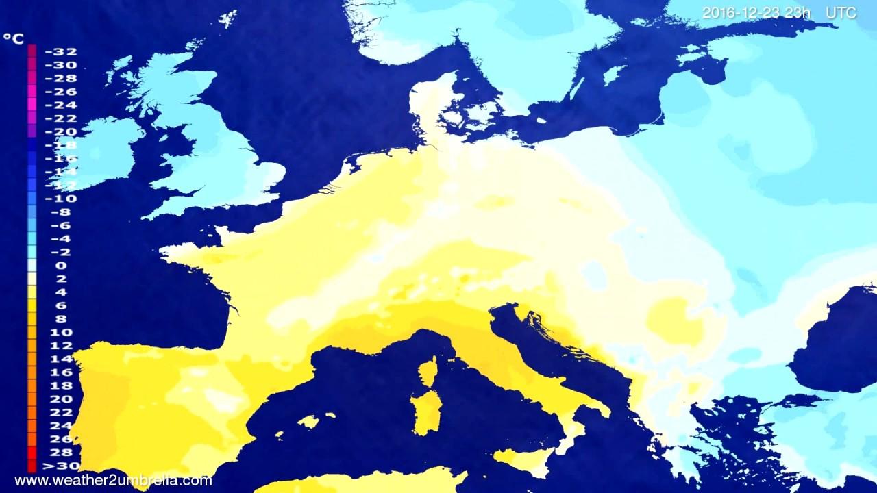 Temperature forecast Europe 2016-12-20