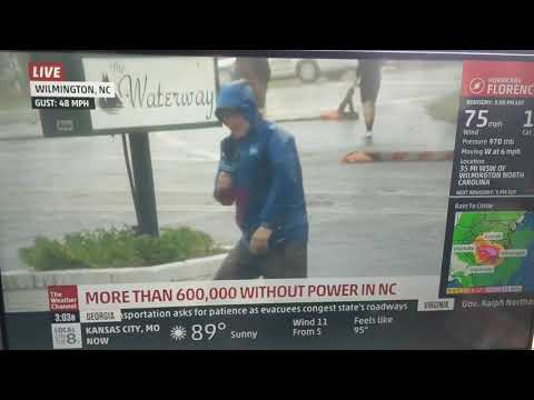 Reporter Struggling To Stand While People Walk Normally In The