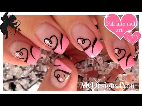 nail art - french rosa con cuore