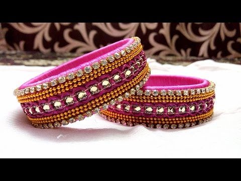 Video DIY Designer Silk Thread Lace Bangle: Turn your ordinary bangle into designer bangle at home download in MP3, 3GP, MP4, WEBM, AVI, FLV January 2017