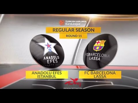 EuroLeague Highlights RS Rouns 11: Anadolu Efes Istanbul 72-68 FC Barcelona Lassa