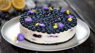 No Bake White Chocolate Blueberry Lemon Cheesecake