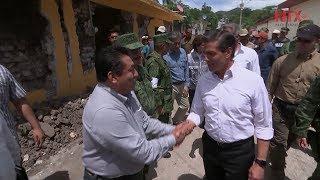 Peña Nieto supervisa en Puebla labores de auxilio por sismo