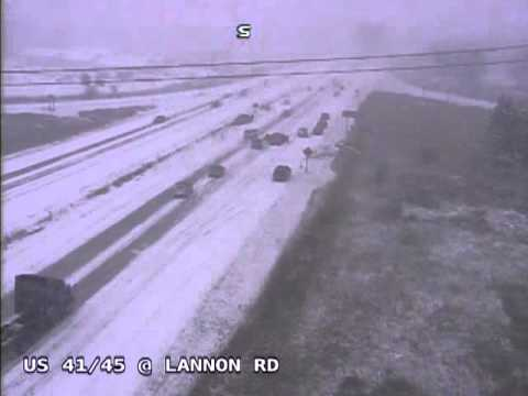 Wisconsin Dept. of Transportation camera catches a chain reaction of crashes near Germantown, Wis. December 8th, 2013
