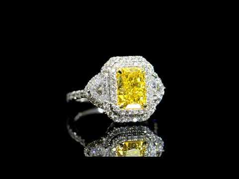 GIA Certified 2.12ct 'Internally Flawless' Fancy Intense Yellow Diamond Ring