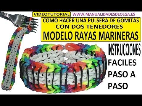 COMO HACER PULSERA DE GOMITAS RAYAS MARINERAS (SAILORS PINSTRIPE) CON 2 TENEDORES