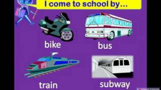 Transportation, bus, taxi, car, plane, English for Kids