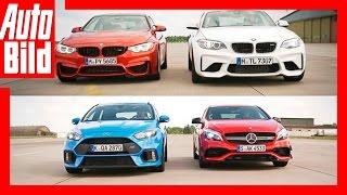 Trailer Drag Race/ 1/4 Meile Rennen AMG A 45 vs Focus RS vs BMW M4 & M2 by Auto Bild