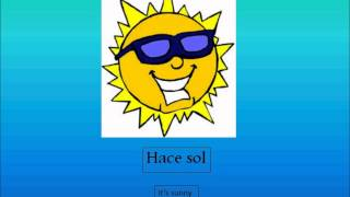 This video teaches a few basic Spanish weather phrases- both their technical translations and what they're comparable phrase in English is.