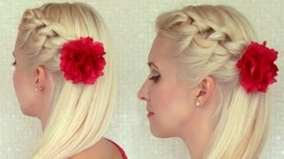 Knotted headband braid tutorial Braided hairstyle for medium long hair Prom party half updo - YouTube