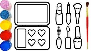 Cara Menggambar dan Mewarnai Alat Riasan Halaman | Glitter Makeup Tool Coloring Pages |Bé học tô màu
