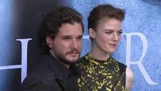 Kit Harington and Rose Leslie at the Game of Thrones Season 7 premiere. Source : Harper's Bazaar UK FAcebook Page...