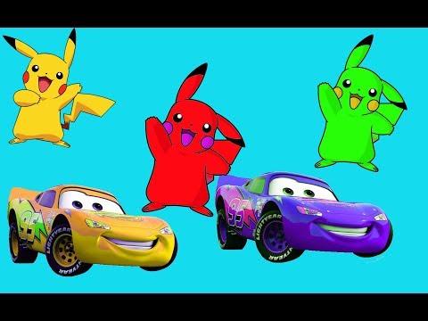 Learn colors Lightning McQueen Pikachu Pokemon - 보육 운율 | 어린이를위한 노래 | 어린이 만화