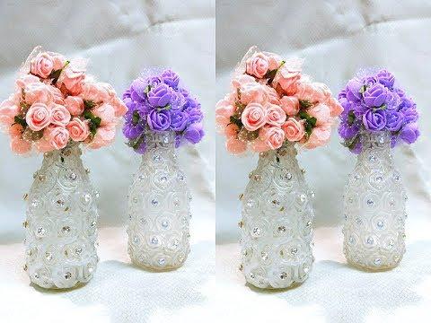 Garrafas decoradas com strass - para decoração da casa ou uma bela Lembrancinha