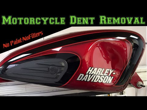 Motorcycle Dent Removal - Harley Davidson Sportster Gas Tank Paintless Dent Repair