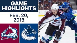 NHL Game Highlights | Avalanche vs. Canucks - Feb. 20, 2018 by Sportsnet Canada