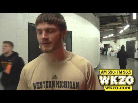 WMU So. Goalie Frank Slubowski tells Carolyn Binder how he stayed calm under pressure in the Broncos&#39; 2-1 shootout win over MSU in the Great Lakes Invitational 