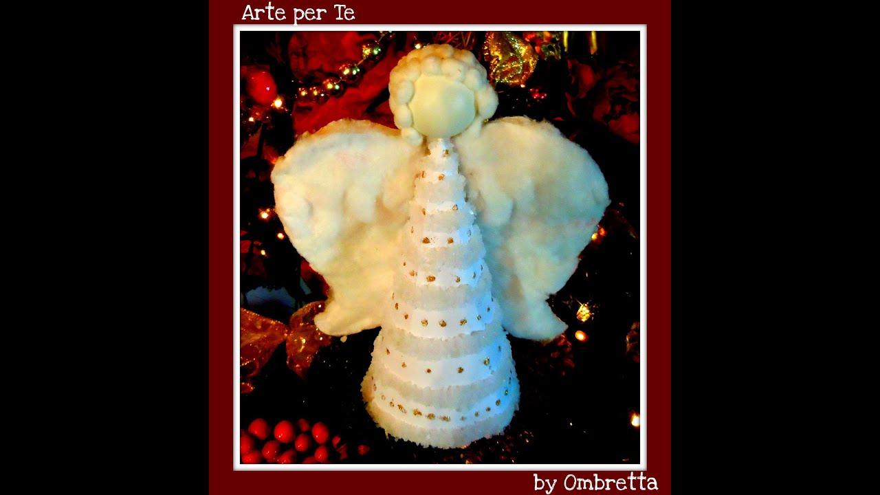 ANGELO DI NATALE ♥ Angioletto di Natale con cotone idrofilo e cartoncino ♥ VIDEOTUTORIAL