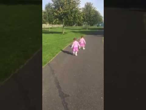 Little Girl Is Afraid Of Her Own Shadow