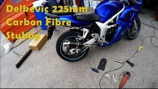 10. Suzuki SV650s, Comparison of Stock and Delkevic 225mm Stubby Exhausts.