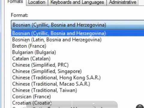 bosnia (region) - how to change windows 7 Region and Language format to Bosnian (Latin, Bosnia and Herzegovina)