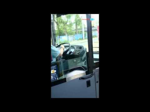 autobusák hraje auta za volantem za jízdy