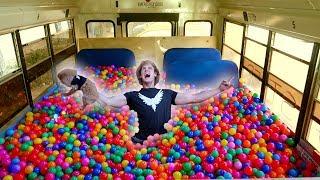100,000 PLASTIC BALLS IN MY SCHOOL BUS! (driving)