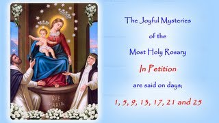 NEW VIDEO FOR THE ANNUAL 54 DAY ROSARY NOVENAThe Annual Worldwide Rosary Novena in Reparation for the sins of the world.The Joyful Mysteries In Petition are said on days; 1, 5, 9, 13, 17, 21 and 25The Annual 54 Day Rosary Novena runs from 15th August (Feast Day of the Assumption of our Blessed Mother) to 7th October (Feast Day of our Lady of the Rosary)If you would like to join in with us on Facebook follow this link to the 2014 event page:https://www.facebook.com/events/174931719366289/http://www.catholicmariandevotions.comhttps://twitter.com/Rosary_Novena