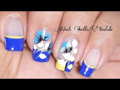 Diseños de uñas - Diseño de uñas en azul y amarillo