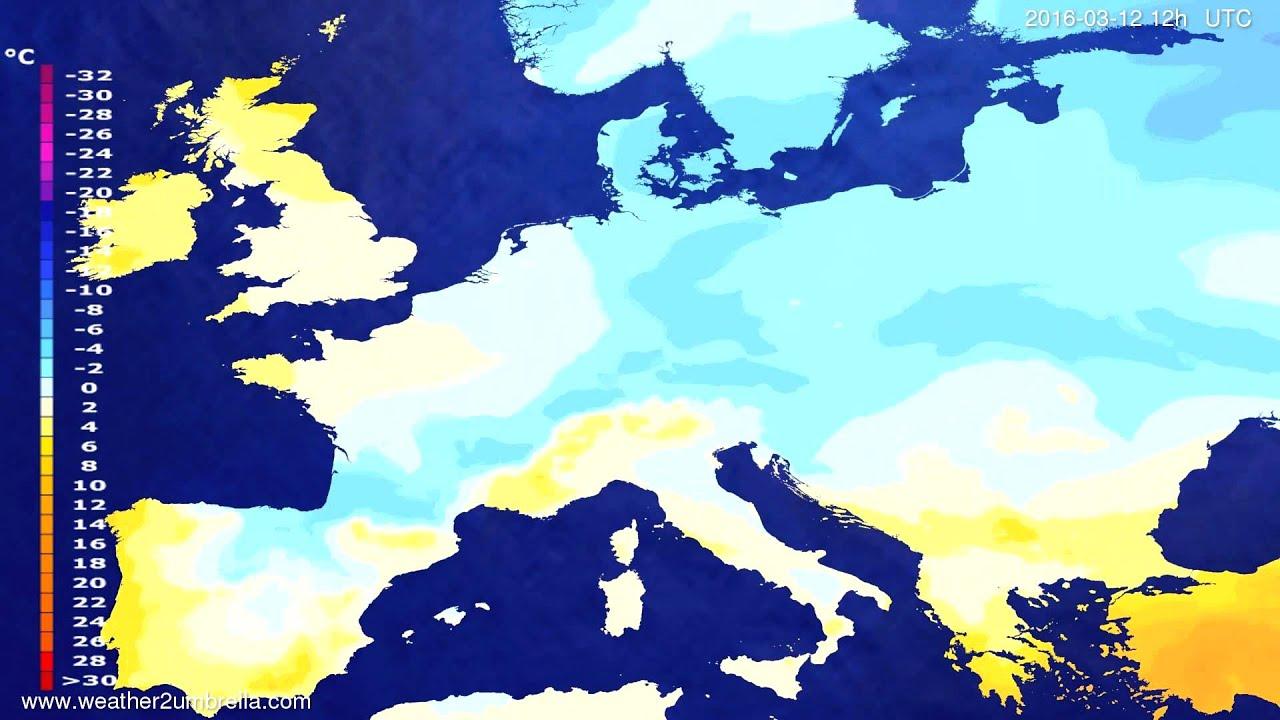 Temperature forecast Europe 2016-03-10