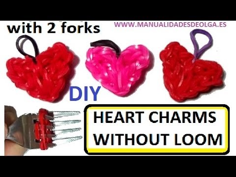 Heart Charm With two forks without Rainbow Loom Tutorial. (Mini Figurine)