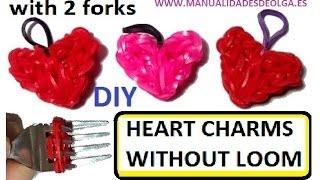 Heart Charm With two forks without Rainbow Loom Tutorial. (Mini Figurine) - YouTube