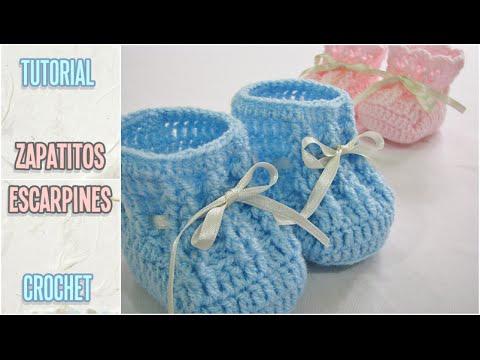Como tejer zapatitos escarpines de bebé a crochet, paso a paso