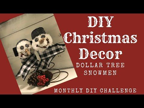 Dollar Tree Rustic Snowman /DIY Farmhouse Christmas Decor/ Monthly challenge hosted by Heidi Sonboul