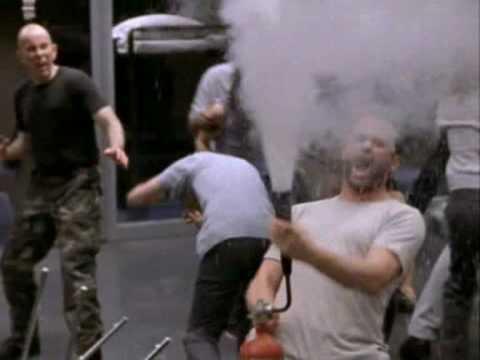 Beecher in the riot at OZ (season 1, episode 8)