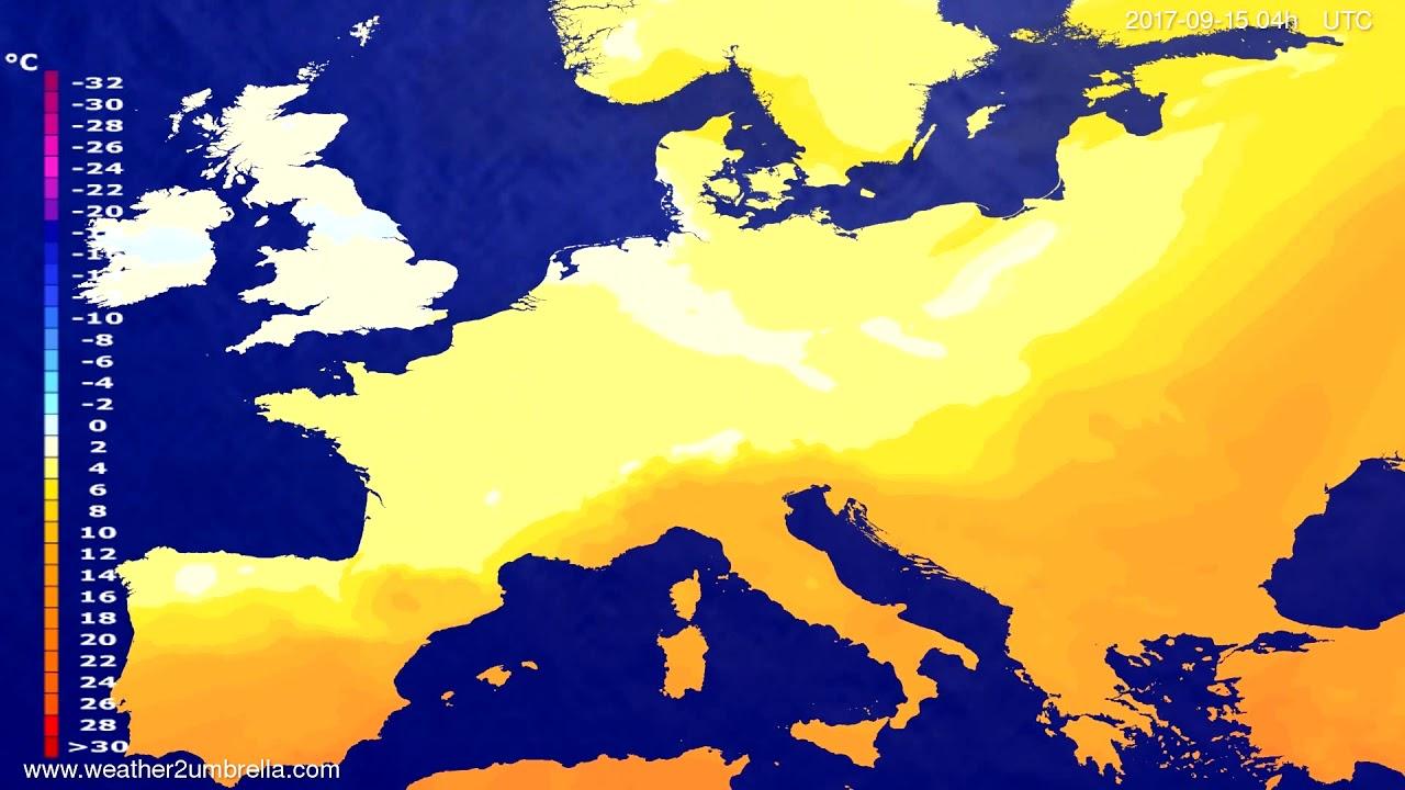 Temperature forecast Europe 2017-09-11